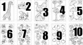 Figures; teaching; training; mathematics; children; illustration; dinosaur; ship; bee; palm; aqueous; tree; wild; rain; prehistoric; pangolin; animal; yellow; sign; umbrella; water; toy; study; summer; insect; sky; elementary; primary; education; age