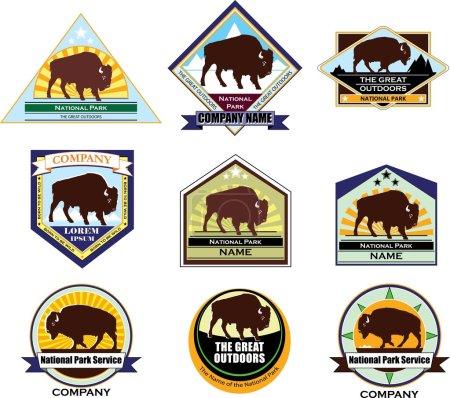 Illustration pour Logo coloré avec l'image d'un buffle, bison, buffle, emblème, logo, insigne, armoiries, chevron, équipe, club - image libre de droit