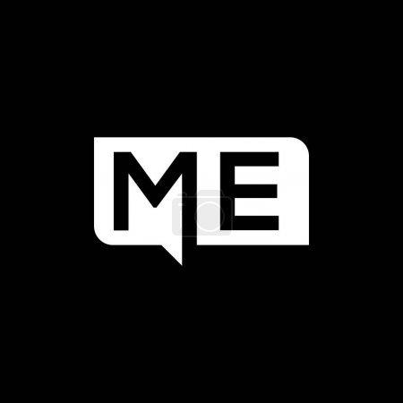 Illustration pour ME lettre logo design sur fond noir.ME initiales créatives lettre logo concept.ME lettre design. - image libre de droit
