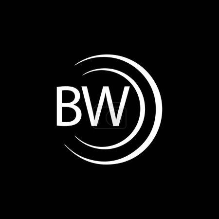 Illustration pour BW letter logo design on black background. BW creative initials letter logo concept. BW letter design. - image libre de droit