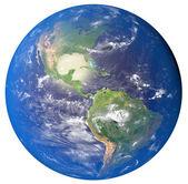 3D obrázek planety Země s kontinenty a modrý oceán w