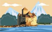 Travel Europe Alps Switzerland  mountains landscape nature  castles  lake mountain lake  hills  green hills  sky clouds  illustration  traveler architecture vector