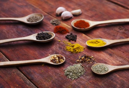 Colorful spices on wooden board