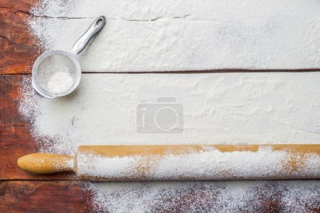Photo for Rolling pin and flour for bread - Royalty Free Image