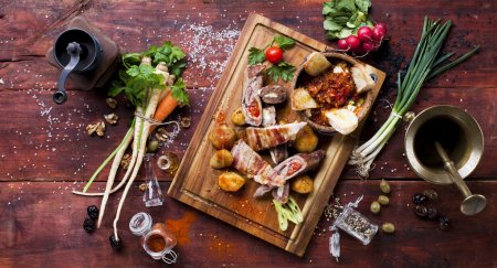 Food on wooden board