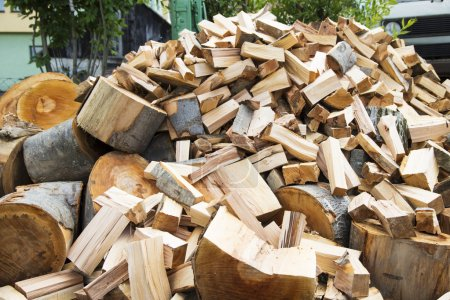 Chopped wood ready for use