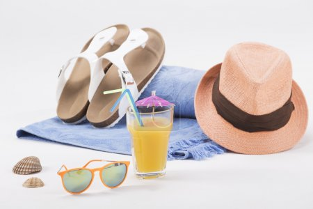 Bright beach summer accessories isolated on white background