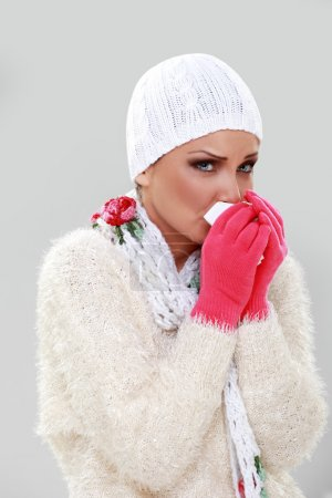 Beautiful girl caught cold