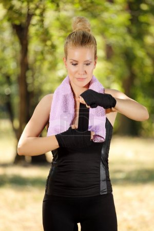 Girl in boxing guard exercise
