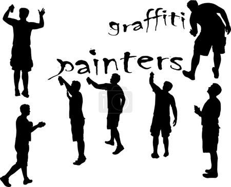 graffiti malarzy 3 sylwetka wektor