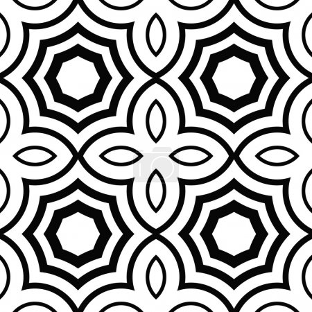 Illustration for Vector seamless texture of lines and geometric shapes. - Royalty Free Image