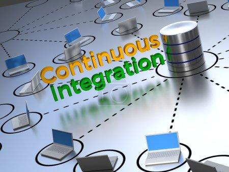 Photo pour Texte d'intégration continue affiché au centre d'un réseau abstrait à côté d'une base de données de contrôle des sources. - image libre de droit