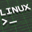 Linux - The letters Linux on a background filled w...