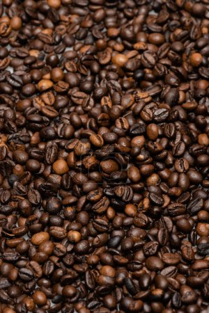 top view of fresh and brown coffee beans