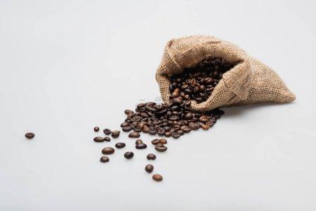 Hessischer Sacksack mit gerösteten Kaffeebohnen auf weiß