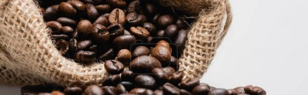 close up of hessian sack bag with roasted coffee beans isolated on white, banner