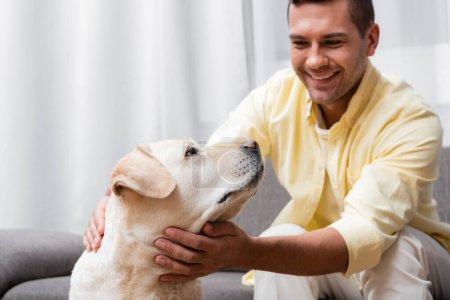 Photo pour Homme joyeux caressant labrador chien à la maison, fond flou - image libre de droit
