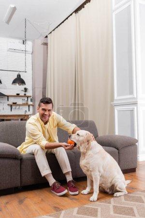 happy man looking at camera while playing with labrador dog at home