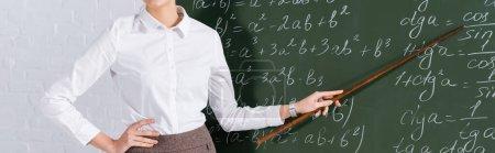 Ausgeschnittene Ansicht des Lehrers, der auf eine Tafel mit mathematischen Gleichungen zeigt, Banner