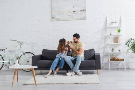 happy interracial couple petting jack russell terrier in modern living room