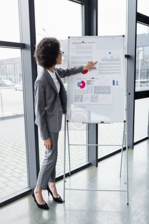 Photo for Side view of african american businesswoman pointing at graphs on flipchart - Royalty Free Image