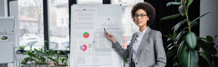 Photo for African american businesswoman looking away while pointing at flipchart in office, banner - Royalty Free Image