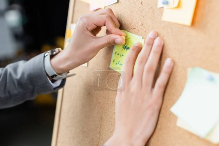 Cropped view of businesswoman attaching sticky note on board