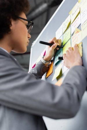Low angle view of blurred african american businesswoman in suit writing on sticky note with marker