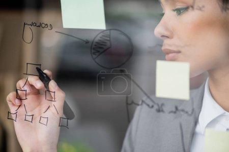 Photo pour Graphique sur panneau de verre près de femme d'affaires afro-américaine dessin - image libre de droit