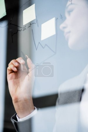 Photo for Low angle view of chart and sticky notes on glass board near african american businesswoman - Royalty Free Image