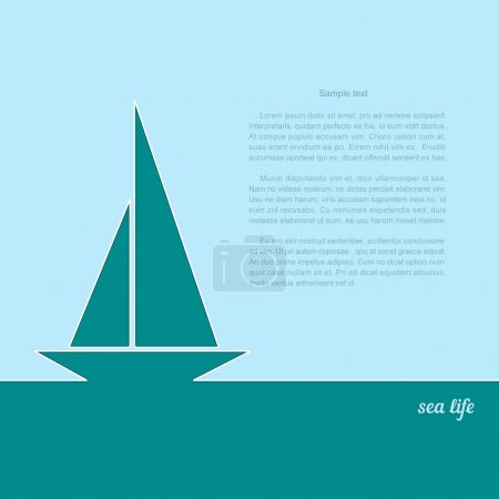 Illustration for Icon sailboat on a blue background. A poster with the text of sea life. Vector illustration. - Royalty Free Image