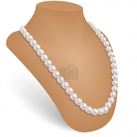 Pearl necklace in the jewelry bust.