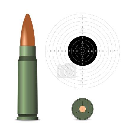 Illustration pour Balle de fusil sur fond blanc. Illustration vectorielle - image libre de droit