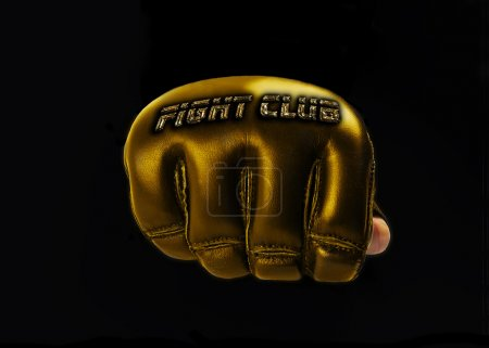 "Gold Glove for the martial arts, mma. golden text ""fight club"""