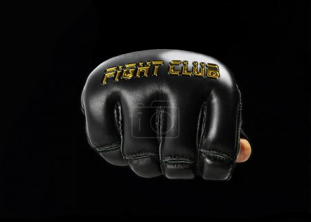 """black glove for the martial arts, with golden inscription """"fight"""