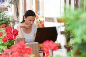 successful woman working freelance