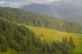 Rainbow in the mountain valley after rain. Beautiful landscape.