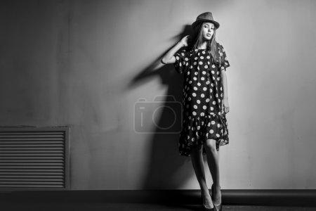Young beautiful fashion model girl Asian girl with hat