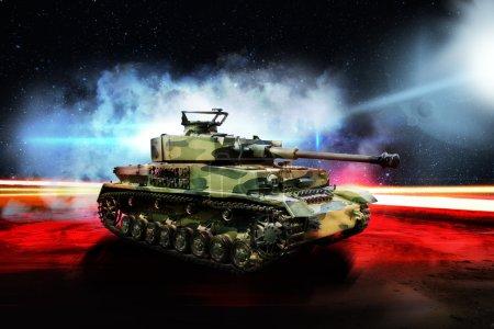 German tank on night road lit by bright light