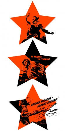 Victory Day. Feast on May 9th. Red stars with Soviet silhouettes calls