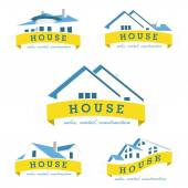 Set house logo design template Realty theme icon Building vector silhouette