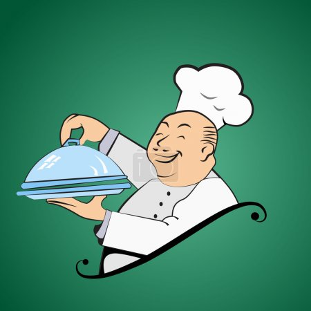 Funny fat chef holds a dish