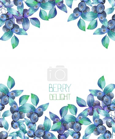 Photo for A template of a postcard, background for a text with the blueberry branches, hand-drawn in a watercolor on a white background, a decoration postcard or invitation for a wedding, celebration, holiday - Royalty Free Image