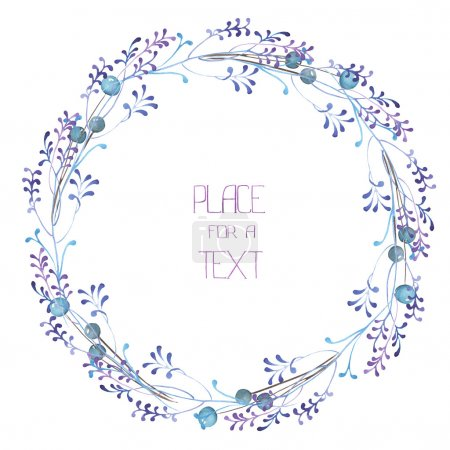 Photo for A frame, wreath, frame border for a text with the watercolor blue berries and violet branches, hand-drawn on a white background, a greeting card, a decoration postcard, wedding invitation - Royalty Free Image