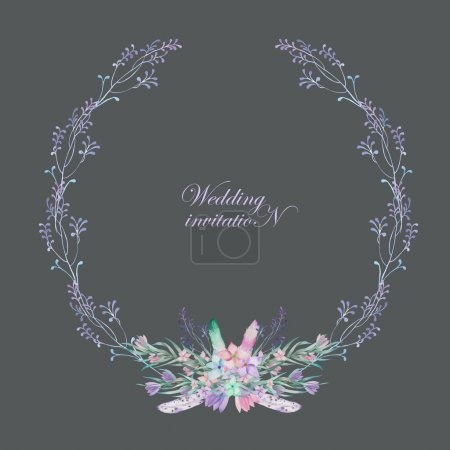 A circle frame, wreath, frame border with the watercolor flowers, feathers and branches, wedding invitation