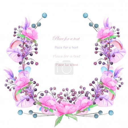 A frame, wreath for a text with the watercolor blue and violet berries and branches, pink flowers, hand-drawn on a white background, a greeting card, a decoration postcard,  invitation