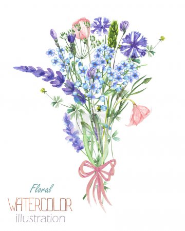 An illustration with a bouquet of the beautiful watercolor blue Myosotis flower, cornflowers and lavender flowers, hand-drawn in a watercolor