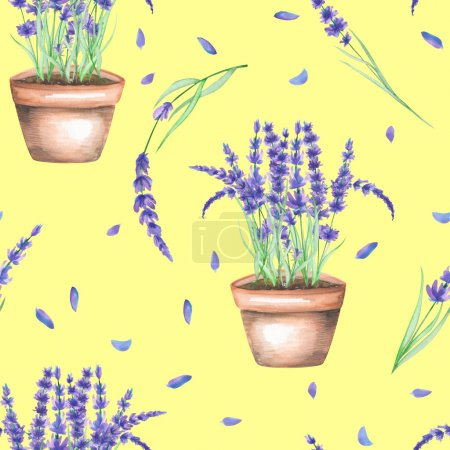 A seamless pattern with the watercolor lavender flowers in a pot
