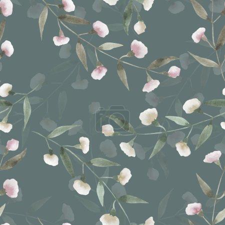 Photo pour Motif floral sans couture avec l'aquarelle simple fleurs abstraites roses, main dessinée sur un fond vert - image libre de droit