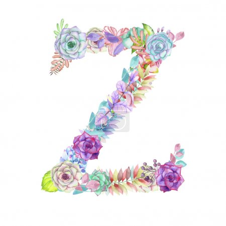 Capital letter Z of watercolor flowers, isolated hand drawn on a white background, wedding design